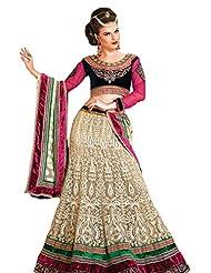 Prafful Cream Net Wedding Unstitched Lehnga choli