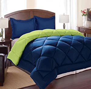 Navy blue and lime green comforter set