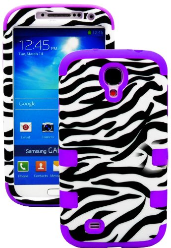 """Mylife (Tm) Purple - Zebra Stripes Print Design (3 Piece Hybrid) Hard And Soft Case For The Samsung Galaxy S4 """"Fits Models: I9500, I9505, Sph-L720, Galaxy S Iv, Sgh-I337, Sch-I545, Sgh-M919, Sch-R970 And Galaxy S4 Lte-A Touch Phone"""" (Fitted Front And Back"""
