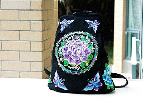 Sun lamps- Borsa a tracolla National Wind pacchetto ricamo Pacchetto ricamato borsa di tela Studente di scuola del bambino scuola dello zaino sacchetto femminile ( colore : Viola )