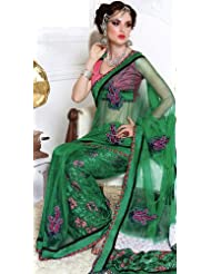 Exotic India Dynasty-Green Wedding Sari With Patch-work And Self Weave - Green