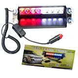 8 LED Warning Caution Car Van Truck Emergency Strobe Light Lamp For Interior Roof / Dash / Windshield (Red and White)