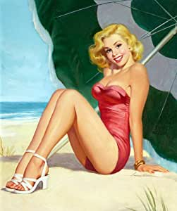 Amazon.com: Pin-Up Girl Poster Wall Decal Sticker - At the Beach by