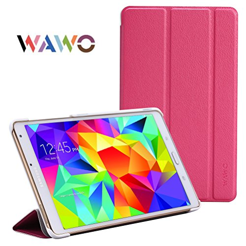 Wawo Creative Smart Tri-Fold Cover Case For Samsung Galaxy Tab S 8.4-Inch Tablet - Rose Red front-998050