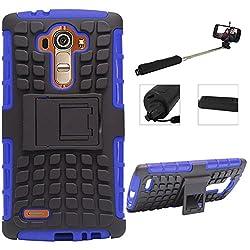 DMG Dual Hybrid Hard Grip Rugged Kickstand Armor Case for LG G4 H815 (Blue) + Wireless Bluetooth Selfie Stick with Image Zoom