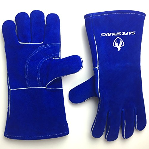Premium Welding Gloves by SAFE SPARKS - High Heat Resistant- New and Improved inner lining - Heat protection for welders, blacksmiths, Fireplace or Stoves (Kevlar Wood Stove Gloves compare prices)