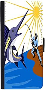 Snoogg Blue Marlin Fish Jumping Retro Designer Protective Phone Flip Case Cover For Samsung Galaxy E5