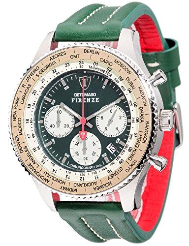 Detomaso Herren-Armbanduhr XL FIRENZE RACING XXL Green Classic Chronograph Quarz Leder DT1045-B
