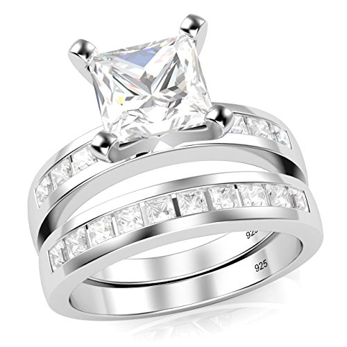 Sz 6 Sterling Silver Cubic Zirconia Princess Cut CZ Wedding Engagement Ring Set (Engagement Rings Princess Cut compare prices)