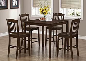 CAPPUCCINO VENEER 5PCS COUNTER HEIGHT DINING SET (SIZE: 39L X 39W X 36H)