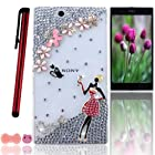 Ancerson New Red Skirt High-heeled Shoes Sexy Modern Lady Black Cat Pink Flowers Silvery LOVE 3D Handmade Shining Glitter Crystal Diamond Rhinestones Protective Hard Back Case Cover Shell Skin for Sony Xperia Z Ultra XL39h C6802 C6806 C6833 with a Pink Stylus Touchscreen Pen, a 3.5mm Universal Lovely Pig Dust Plug and a Bow Bowtie Bowknot Earphone Jack - Retail Package (Transparent Clear Case)