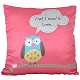 Owl All Over Cushion Covers ( Pink )