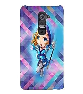 PRINTVISA Cartoon Girl Case Cover for LG G2