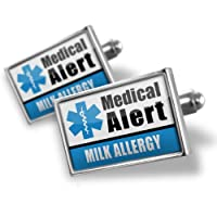 "Neonblond Cufflinks Medical Alert Blue ""Milk Allergy"" - cuff links for man from NEONBLOND Jewelry & Accessories"