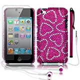 APPLE IPOD TOUCH 4TH GEN LOVE HEARTS DIAMANTE CASE / COVER / SHELL - WHITE/PINK W/SCREEN PROTECTOR STYLUS & HEADSET PART OF THE QUBITS ACCESSORIES RANGEby Qubits
