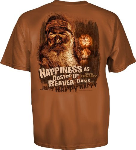Duck Dynasty Happiness is Bustin' Up Beaver Dams Adult T-shirt (Adult X-Large)