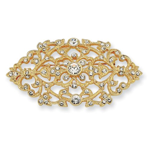 Gold-plated Swarovski Crystal Floral Brooch Pin.