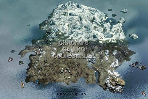 "CGC enorme-Poster Mappa Elder Scrolls V Skyrim Dragonborn Xbox 360PS3PS4-eds026, Carta, 24"" x 36"" (61cm x 91.5cm)"