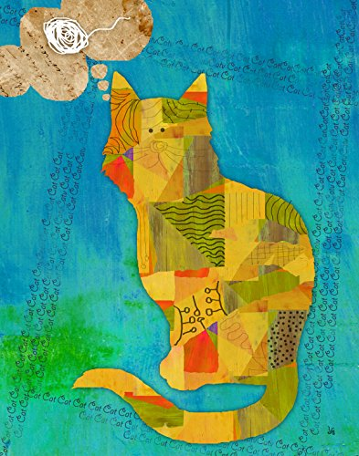 Green Leaf Art Cat on Blue Canvas Art