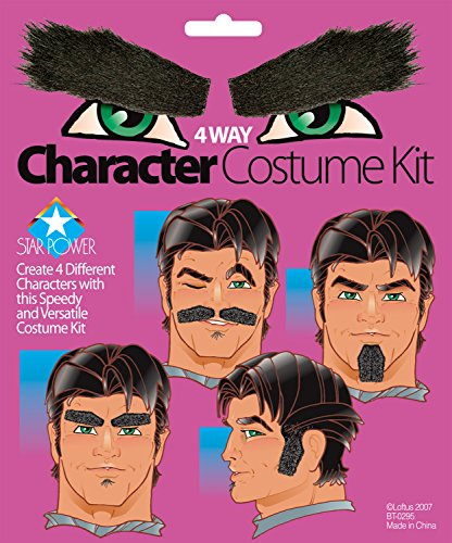 Star Power 4 Way Hair Mustache Beard Eyebrows Sideburns Accessory Kit, Black