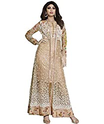 StylishFashion Shilpa Shetty Gorgeous Beige Self Resham Embroidered Floor Length Anarkali Suit