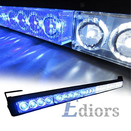 "Ediors 27"" 24 Led 13 Flashing Strobing Mode Emergency Warning Traffic Advisor Vehicle Hazard Strobe Light Bar Kits (White/Blue)"