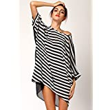 TBS Women's Striped Oversized Black White Beach Cover-up
