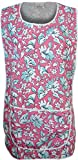 [Pink, UK - 12-14] NEW LADIES WOMENS FLOWER PRINTED WORK KITCHEN CLEANING COOKING APRON OVERALL