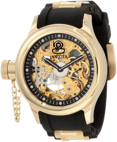 Invicta Men's 1844 Russian Diver Mechanical Gold Tone Skelton Dial Black Polyurethane Watch