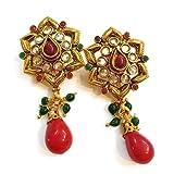 Divinique Jewelry Polki magenta earrings