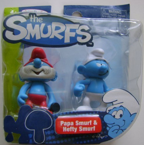"The Smurfs 2 Pack, Papa Smurf and Hefty Smurf, 2.5"" Tall."