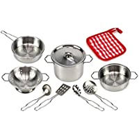 Best Cook Complete 10 Piece Metal Toy Kitchenware Play Set