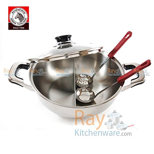 26Cm Stainless Steel Twin Hot Pot With Lid - For Induction/Gas/Electrical Stove (Free 4-Piece Carving Knife.)