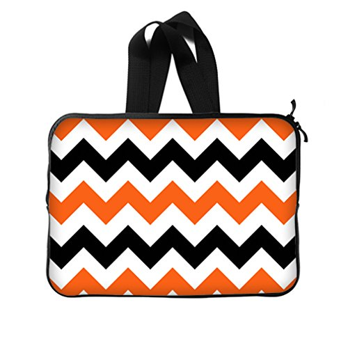 Fashion Chevron Classic Black And White Orange Laptop Bag New Laptop Sleeve - 15,15.6 Inch(Twin Sides) Laptop Sleeve Bags front-832235