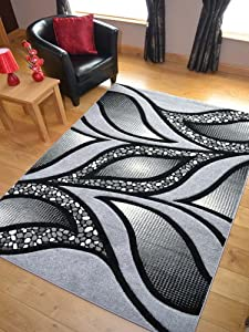 Modern Silver And Black Quality Hand Carved Rugs. Available in 3 Sizes (120cm x 170cm) from Rugs Supermarket