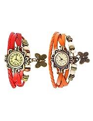 Felizo Set Of 2 Fancy Vintage Red & Orange Leather Bracelet Butterfly Watch For Girls & Women - Combo Offer