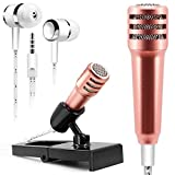 Mini Condenser Microphone, AFUNTA Omnidirectional Stereo Mic with Earphone for Voice Recording, Chatting on Cellphones,Tablets,Laptops,Computers (Golden)