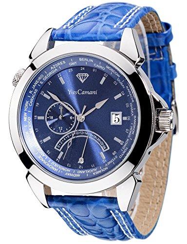 Yves Camani - YC1066-C - Montre Mixte - Quartz Analogique - Deux fuseaux horaires - Bracelet Cuir Bleu