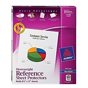 Avery 74102 Top loading non-glare poly sheet protectors, heavy, 100 per box