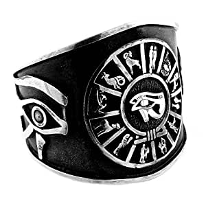 Jewelry Silver Eye of Horus Zodiac Bangle: Bangle Bracelets: Jewelry
