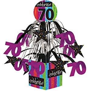 Creative Converting Party Decoration Metallic Foil Cascading Centerpiece, Milestone Celebrations 70th
