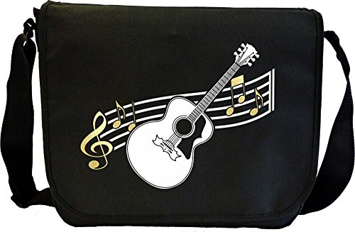 Acoustic Guitar Curved Stave - Sheet Music Document Bag Borsa Spartiti MusicaliTee