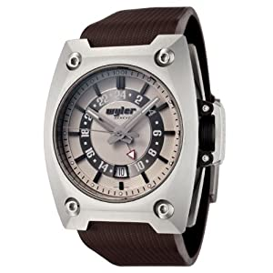 Wyler Geneve Men's 200.4.00.EG1.RBR Code R Collection Automatic GMT Brown Rubber Watch