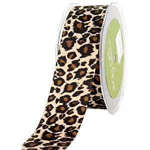 May Arts 1-1/2-Inch Wide Ribbon, Grosgrain Leopard Print