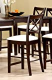 Set of 2 Pacific Cappuccino Finish Wood Counter Height Bar Stools