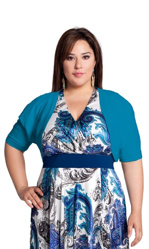 IGIGI by Yuliya Raquel Plus Size Endless Possibilities Shrug in Turquoise onSale
