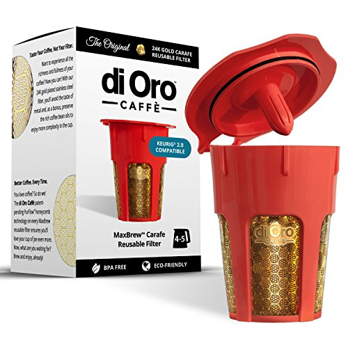 MaxBrew 24K Gold Reusable K-Carafe Filter for Keurig 2.0 - K-Cup Reusable 4-5 Cup Carafe Filter for Keurig 2.0 (Carafes K Cups compare prices)