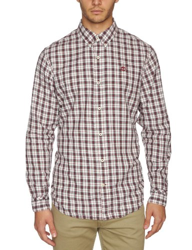 Timberland Meriden Plaid Cashmere Long Sleeve Men's Shirt Red Check Medium