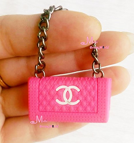 1/6 Scale Dollhouse Miniature Metal Chain Rose Pink Plastic TOY Lady Handbag Bag