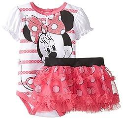 Disney Baby Girls Disney Minnie Mouse Soft Bodysuit and Skirt Set, Pink, 9 Months